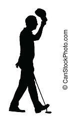 スポーツ, ゴルフ帽子, –, シルエット, ゴルファー, 持ち上がること