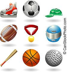 スポーツ, シリーズ, セット, 光沢がある, アイコン