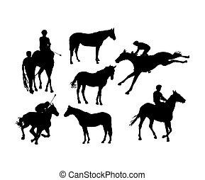 スポーツ, シルエット, 乗馬者