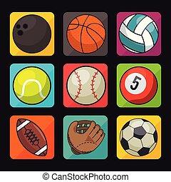 スポーツ, セット, アイコン