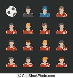 スポーツ, セット, フットボール, アイコン