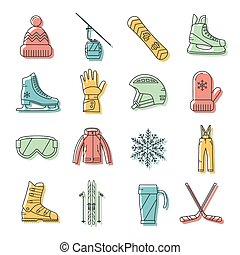 スポーツ, セット, 冬, アイコン