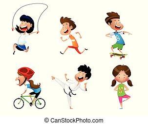 スポーツ, セット, 子供