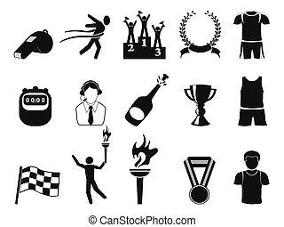 スポーツ, セット, 黒, アイコン