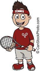 スポーツ, テニス, -, 漫画, イラスト