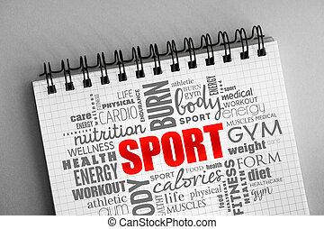 スポーツ, フィットネス, 単語, 雲