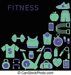 スポーツ, フィットネス, 背景, アイコン