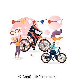 スポーツ, ベクトル, イラスト, 山, triathlon, biking, 冬