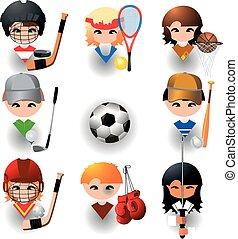スポーツ, ベクトル, コレクション, アイコン