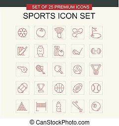 スポーツ, ベクトル, セット, アイコン