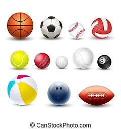 スポーツ, ベクトル, セット, 別, ボール, 現実的, 3d