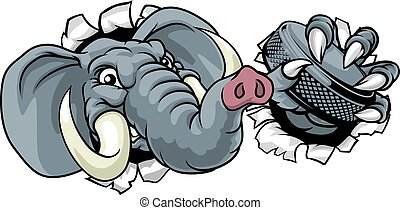 スポーツ, ホッケー, 氷, マスコット, 動物, 象, プレーヤー