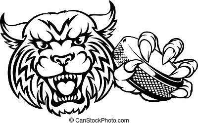 スポーツ, ホッケー, wildcat, 氷, マスコット, 動物, プレーヤー