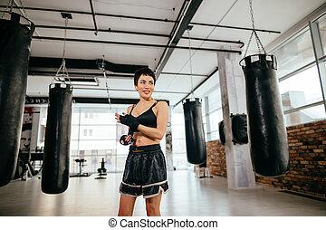 スポーツ, ボクシング, 行く, プロセス, bandage., activities., 毎日