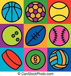 スポーツ, ボール, アイコン