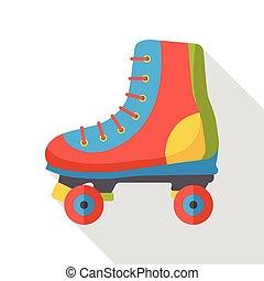 スポーツ, ローラースケートをしなさい, 平ら, アイコン