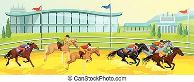 スポーツ, 乗馬者, テンプレート, 漫画
