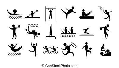 スポーツ, 人々, シルエット, アイコン, 別, セット, 活動