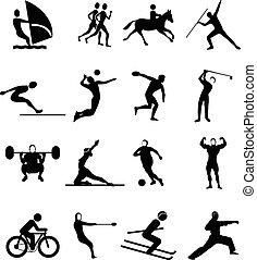 スポーツ, 人々, セット, アイコン