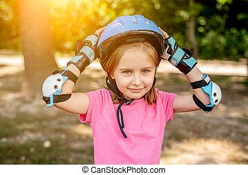 スポーツ, 保護である, 女の子, わずかしか, 装置