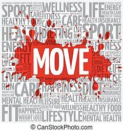 スポーツ, 動きなさい, 雲, 単語, フィットネス