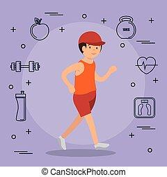 スポーツ, 動くこと, セット, 人, アイコン