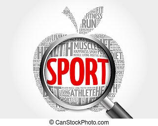 スポーツ, 単語, アップル, 雲