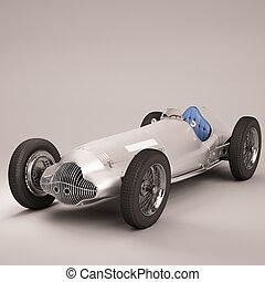 スポーツ, 古い, 銀, 自動車