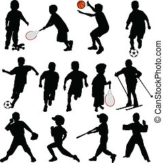 スポーツ, 子供, シルエット