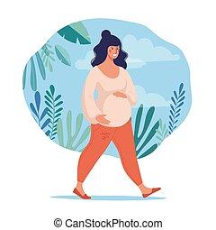 スポーツ, 平ら, motherhood., illustration., 健康, lifestyle., pregnancy., 特徴, 女, 妊娠した, 歩く, ポスター, リードする, 女性, design., ベクトル, の間, について, 概念