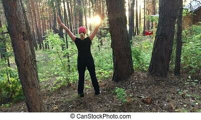 スポーツ, 日没, 森林