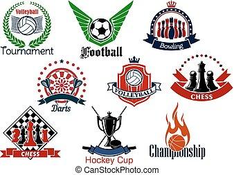 スポーツ, 紋章, セット, ゲーム, アイコン