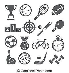 スポーツ, 背景, アイコン, セット, 白