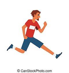スポーツ, 衣服, 人, 漫画, ランナー, 男性の運動選手, 動くこと, 前方へ