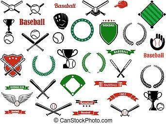 スポーツ, 項目, ゲーム, designelements, 野球