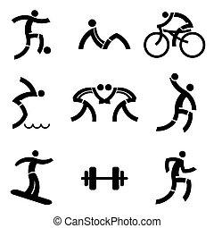 スポーツ, 黒, フィットネス, アイコン