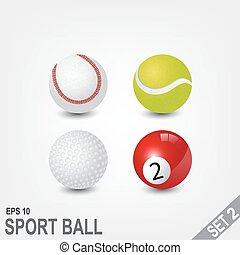 スポーツ, 2, ボール, セット, 部分