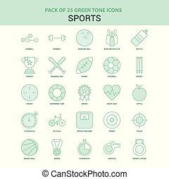スポーツ, 25, セット, 緑, アイコン