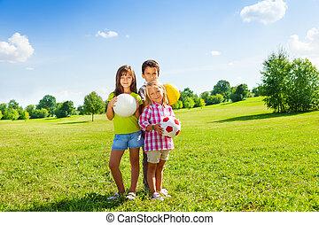 スポーツ, 3, ボール, 子供