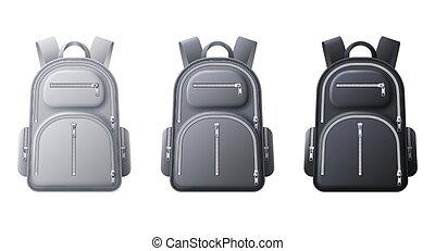 スポーツ, 3d, テンプレート, 袋, バックパック, 現実的, 靴, 学校, ∥あるいは∥, 黒, バックパック, 白, mockup., ベクトル, 旅行, 布, 灰色