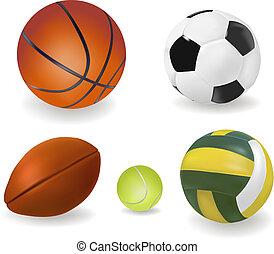 スポーツ, balls., ベクトル, セット