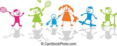 スポーツ, children., 遊び, 幸せ