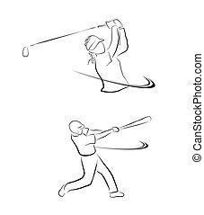 スポーツ, coll, シンボル, ソフトボール, ゴルフ