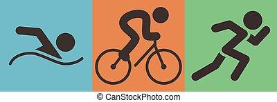 スポーツ, triathlon, アイコン