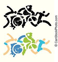 スポーツ, triathlon, icons., グランジ, フィットネス, stylizes