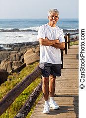 スポーティ, 中年層, 人, 肖像画, 浜