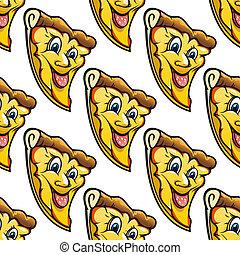 スライス, チーズが多い, パターン, 漫画, サラミ, ピザ, seamless