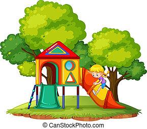 スライド, 公園, 遊び, 女の子