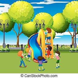 スライド, 子供, 公園, 遊び