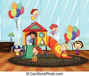 スライド, 子供, 部屋, 遊び